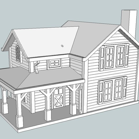 c896f68d6ea11a010fd6ec76fa6b9cd8_display_large.jpg Download free STL file HO Scale Two Story Farmhouse • Model to 3D print, kabrumble