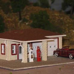 IMG_6688.JPG Download free STL file HO Scale Vintage Gas Station • 3D printer design, kabrumble