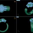 Diseños 3D Panthere de oro diamante esmeralda, DamNgocHiep
