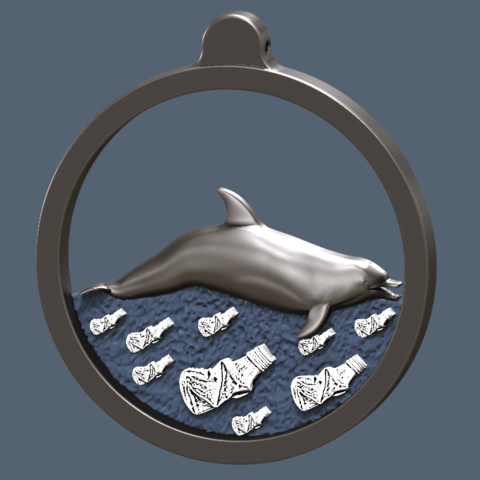 Dolphin swimming on plastic ocean.png Télécharger fichier STL gratuit dolphin swimming on plastic ocean • Objet pour impression 3D, omni-moulage
