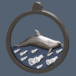 Download free 3D printing templates dolphin swimming on plastic ocean, omni-moulage