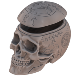 Engraved-Skull.png Download STL file Halloween candy box (decorated) • Object to 3D print, omni-moulage