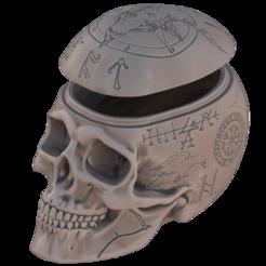 Engraved-Skull.png Télécharger fichier STL Boite à bonbons Halloween (décorée) • Objet pour impression 3D, omni-moulage