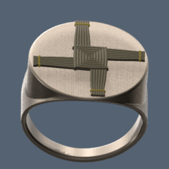 Brigid's-Cross-Ring.png Download STL file Cross of Saint Brigitte on a ring • Template to 3D print, omni-moulage