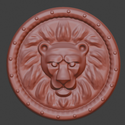 leon02.png Download STL file Lion Shield / Coin • Object to 3D print, andersonfe
