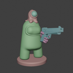 amongus_w_gun1.png Download STL file Among Us Impostor with a Gun and a Alien Hat • Model to 3D print, andersonfe