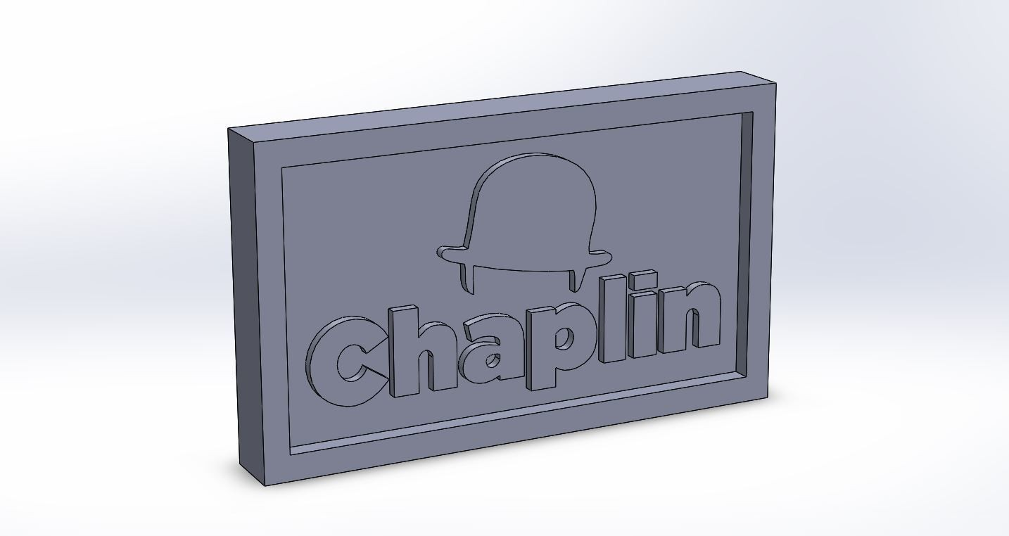 chaplin_0.JPG Download free STL file Chaplin Logo Plate • 3D print template, taiced3d