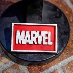 diseños 3d gratis Placa Marvel Logo, taiced3d