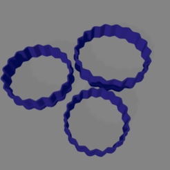redondo ondulado x3.png Download STL file Wavy round cookie cutter • 3D printable design, ledblue