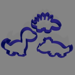 dinos.png Download STL file Dinosaurs dino cookie cutter x3 • Template to 3D print, ledblue
