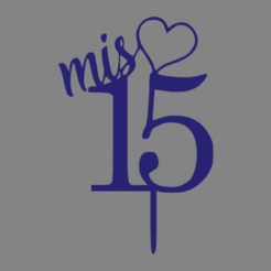 mis 15 corazon.png Download free STL file My 15 years topper • 3D print template, ledblue