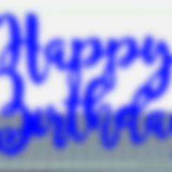Download free STL Happy birthday cake topper, ledblue