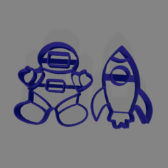 astronauta cohete 80mm.png Download STL file Astronaut and rocket cookie cutter • 3D printer model, ledblue