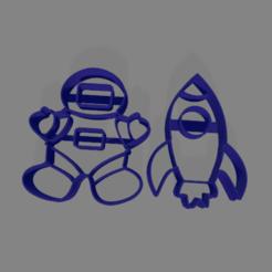 astronauta cohete 80mm.png Télécharger fichier STL Astronaute et coupeur de biscuits de fusée • Plan pour imprimante 3D, ledblue