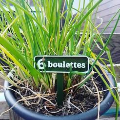 """3D printing model Panneaux potager Jeux de mots """"6 boulettes"""", lartiste3D"""