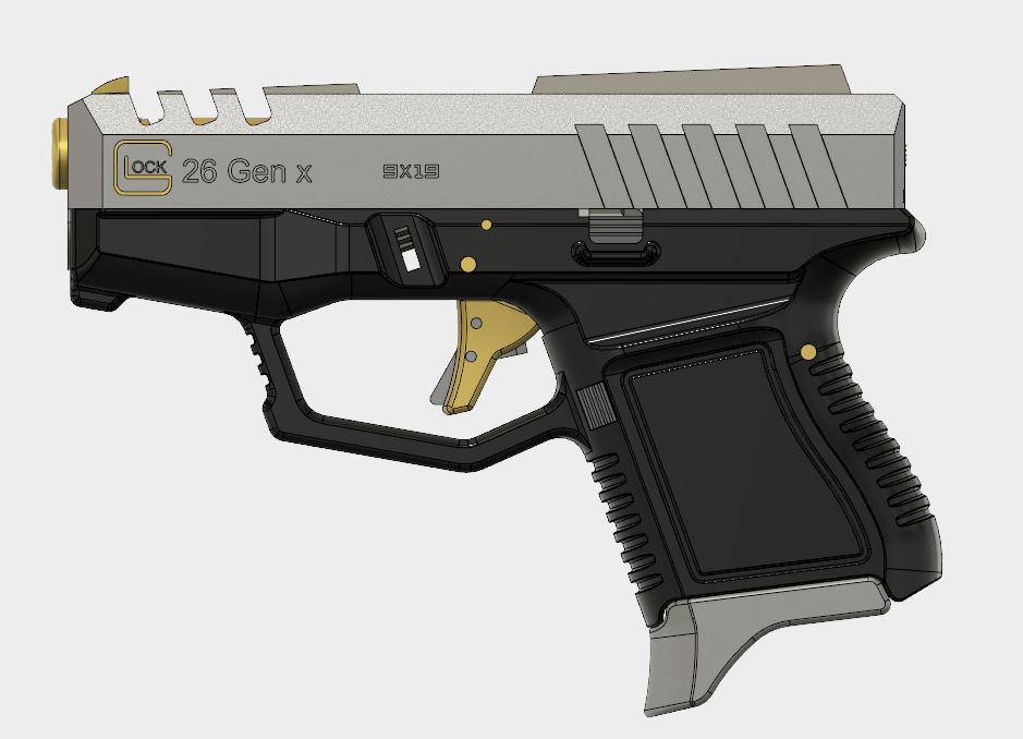 Glock 26 Gen x (1).PNG Download free STL file Glock 26 Gen x • 3D printable object, 3dprintcreation