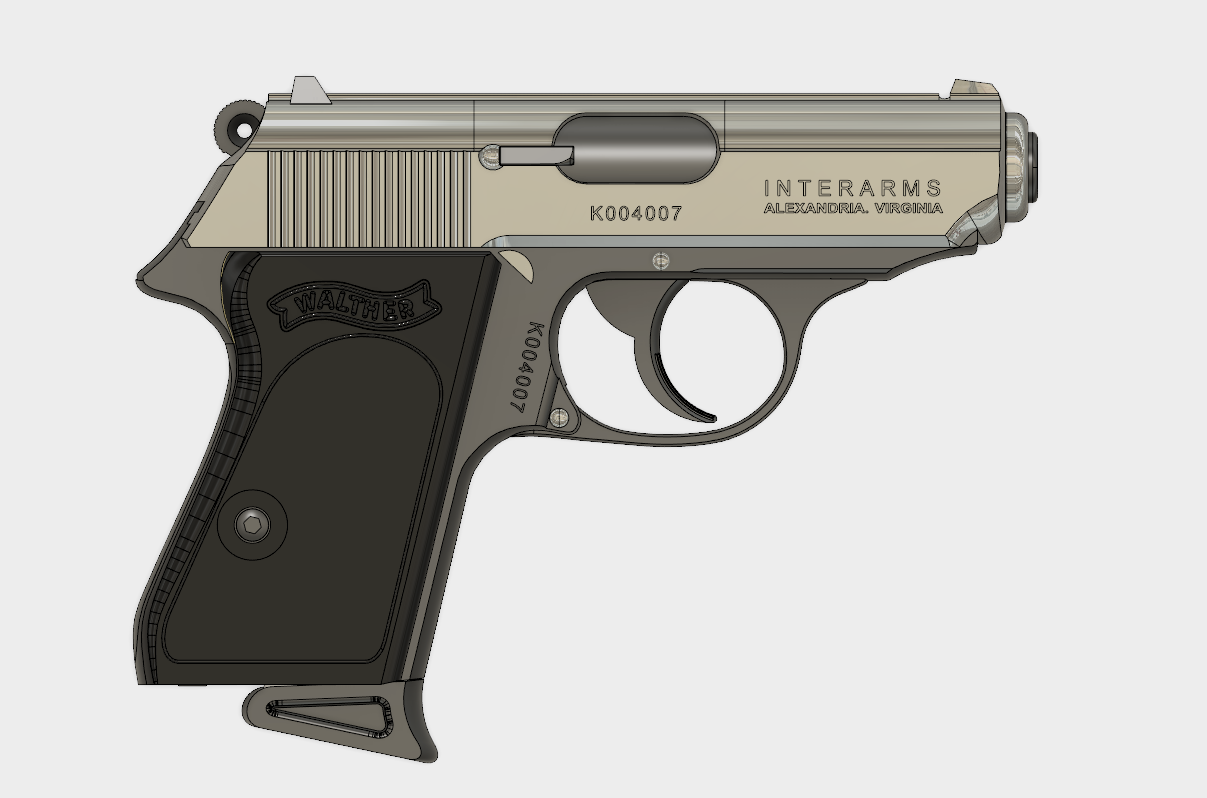 Walther PPK.PNG Download free STL file Walther PPK Cal.9mm • Object to 3D print, 3dprintcreation