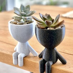 Download 3D printer designs Little People Sitting Planter, Ivankahl3D