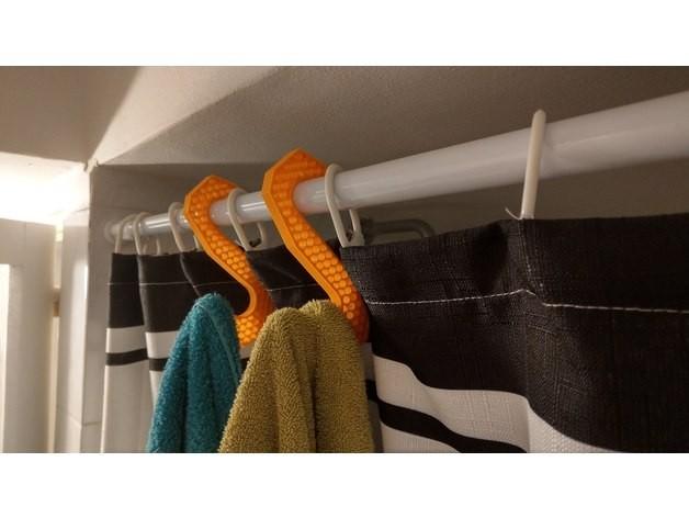 milanorage simple towel hanger -shower curtain rod02.jpg Download free STL file Simple Towel Hanger (using shower curtain rod)  • 3D print model, Milanorage