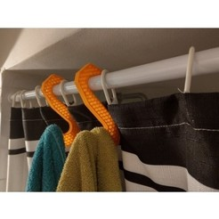Free 3d printer files Simple Towel Hanger (using shower curtain rod) , Milanorage