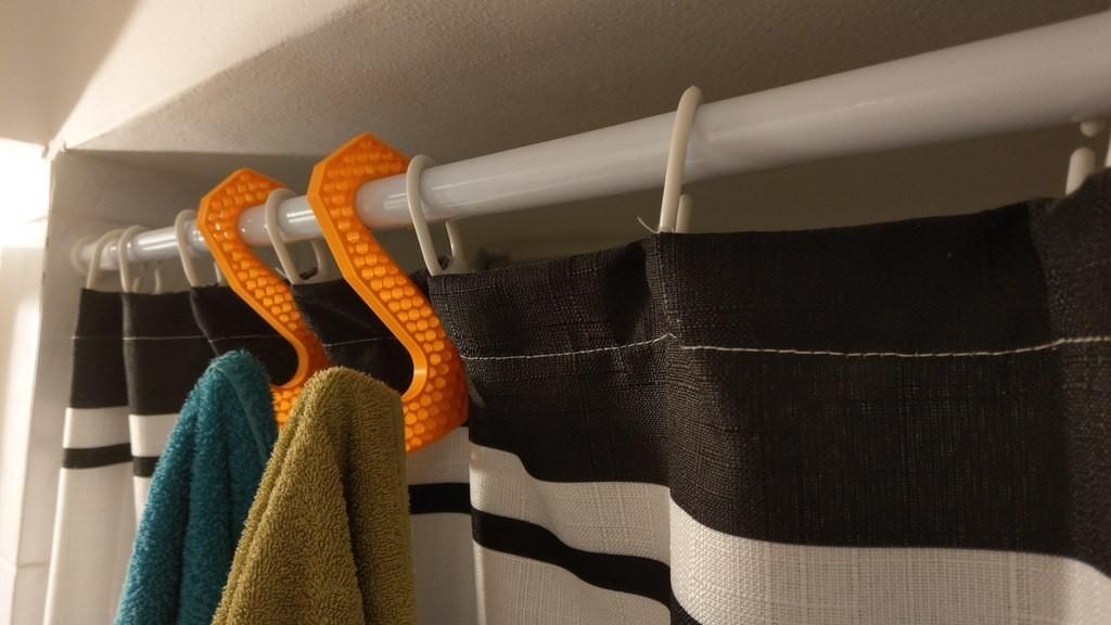 milanorage simple towel hanger -shower curtain rod01.jpg Download free STL file Simple Towel Hanger (using shower curtain rod)  • 3D print model, Milanorage
