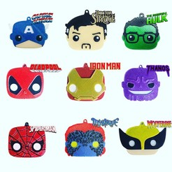 heroes2.jpg Download free STL file Super Heroes/ Villains Keychains Funko Pop Style • 3D printable design, Filar3D