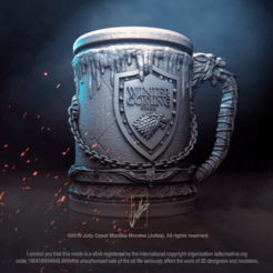 Stark_House_Jar01.png Download STL file House Stark Jar V1 Game of Thrones 3D print model • 3D printer object, jullessoulm