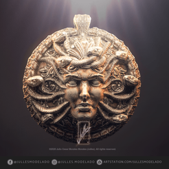 Download free STL file Pendant_Head_of_Medusa. • 3D print object, jullessoulm