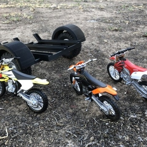 STL 1/16th Scale Easyprint Motorcycle Trailer Suits WPL C24, Pitts