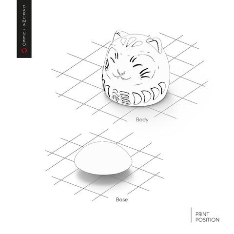 Daruma_2-07-03.jpg Télécharger fichier STL gratuit DARUMA-NEKO • Design pour impression 3D, imaginestudio