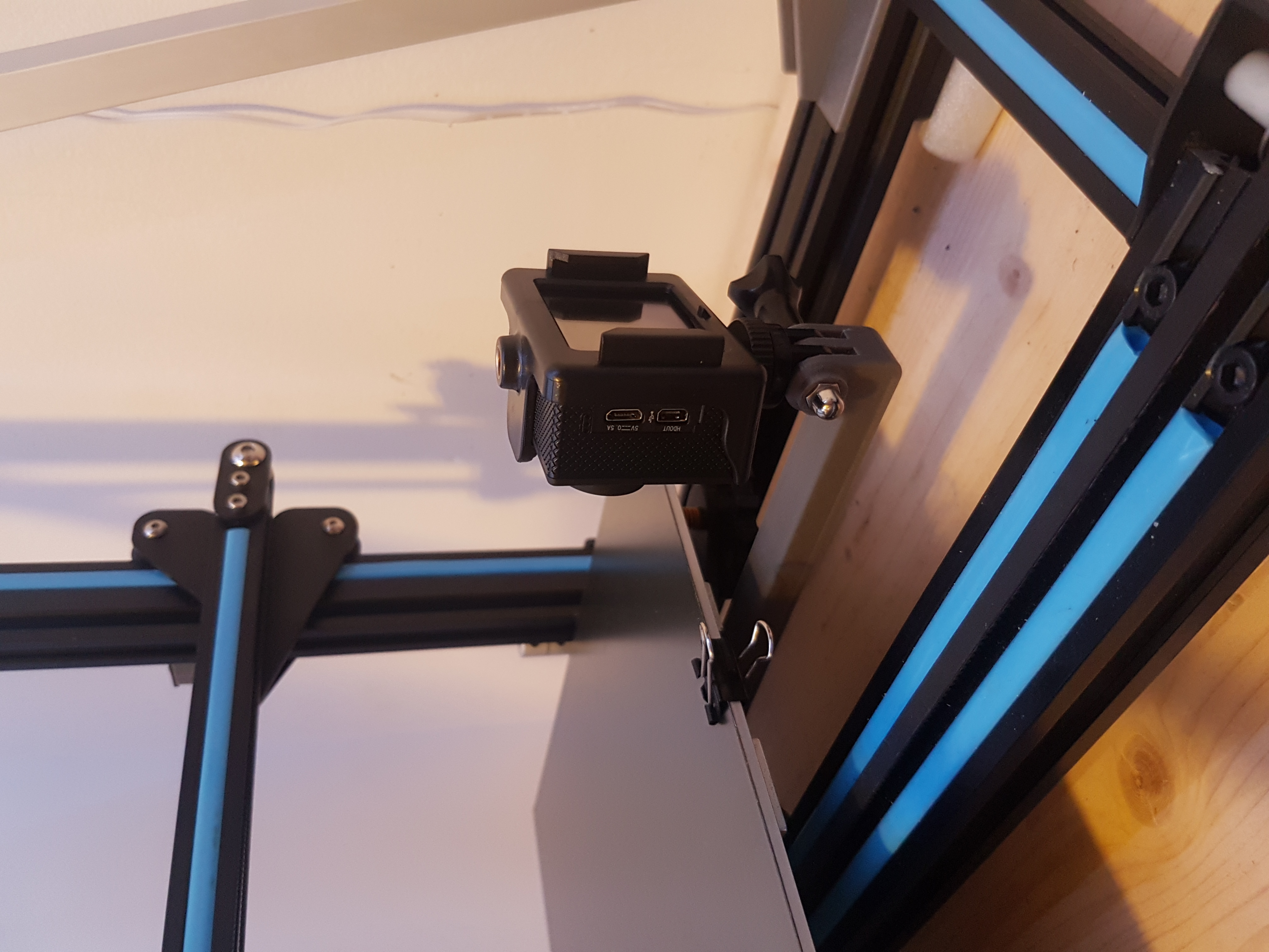 20190613_171514.jpg Download free STL file cr10 and i3 mega bed frame action cam mount - still bed timelapse • 3D print object, samster_3d