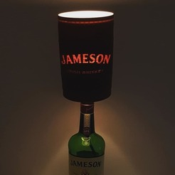 3D print model Jameson Whiskey barrel style lamp shade for up-cycled bottle lamps, samster_3d