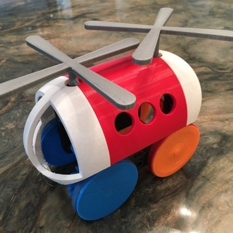 Download free 3D printer templates Helicopter Pull, Push, Downhill Toy 2, gzumwalt