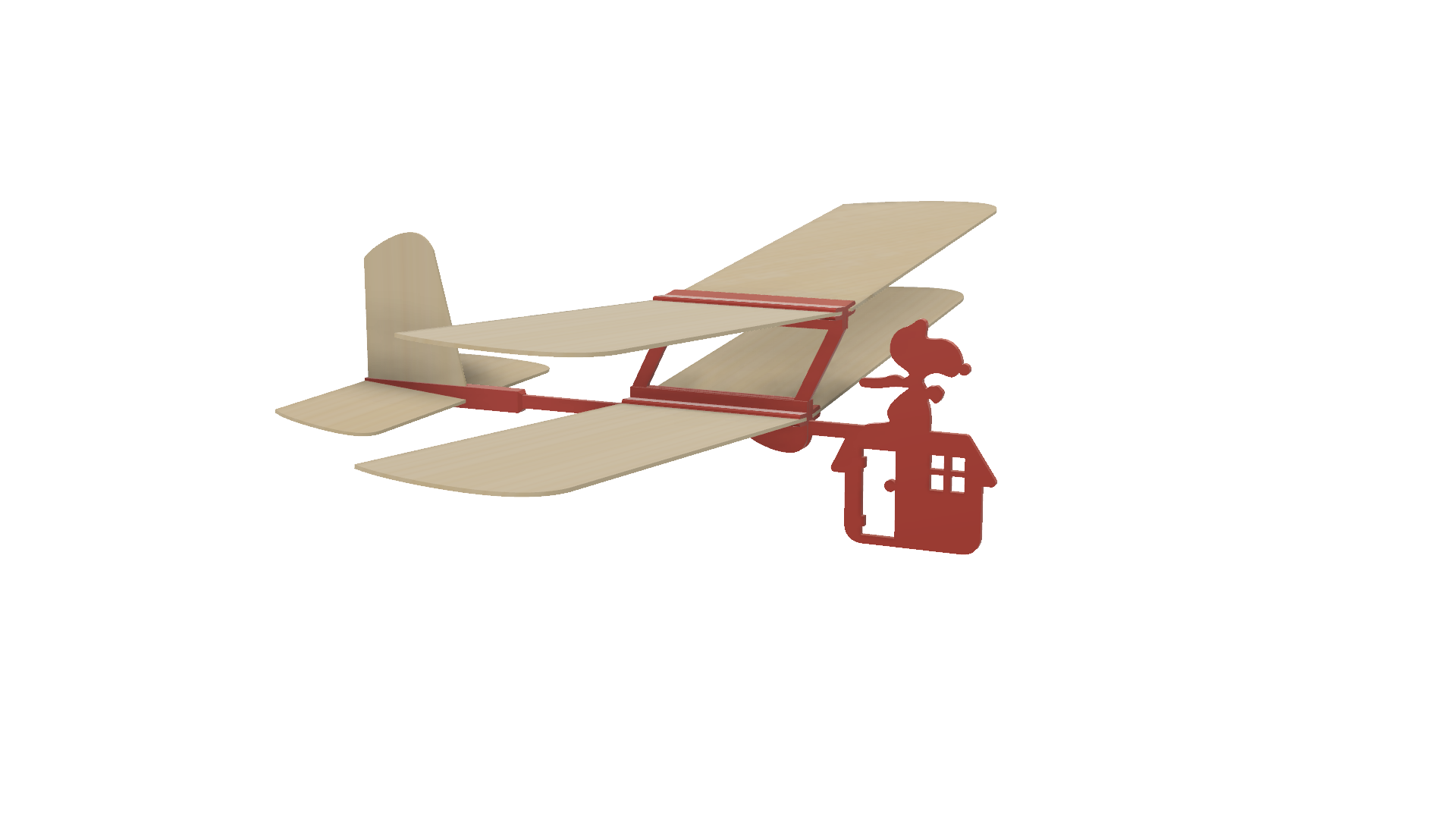 Image0001.png Download free STL file Red Baron II: Hand Launched Biplane Glider • 3D printable object, gzumwalt