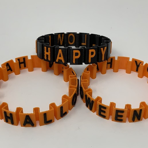 "Download free STL files Happy Halloween ""Somewhat Stretchy"" Bracelet, gzumwalt"