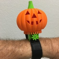 Download free 3D printing models Motorized Halloween Pumpkin Bracelet, gzumwalt