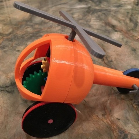 Free stl Helicopter Pull, Push, Downhill Toy, gzumwalt