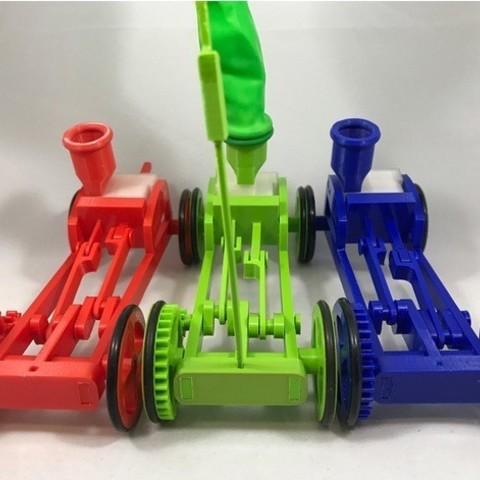 Impresiones 3D gratis Chasis abierto con motor neumático de un cilindro propulsado por globo, gzumwalt