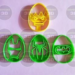 Descargar STL cortantes de galletas pascuas marvel / Easter cookies cutters marvel, arprint3d