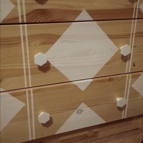 Télécharger fichier STL gratuit Poignée à bouton hexagonal pour armoire de rangement Ikea, kaju666