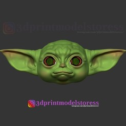 Download 3D printer files Mandalorian Baby Yoda Helmet Costume Cosplay Star Wars , 3DPrintModelStoreSS