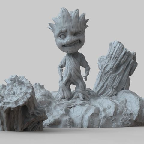 Baby Groot Sculpture 3D Print Model - STL Files for 3D Printing STL file, pthofantastic