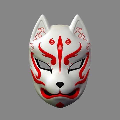 3D printer files Japanese Fox Mask Demon Kitsune Cosplay STL File, 3DPrintModelStoreSS