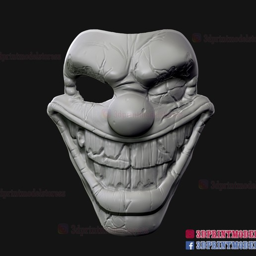 Twisted_metal_killer_clown-08.jpg Download STL file Twisted Metal Killer Clown Mask  • 3D printer model, 3DPrintModelStoreSS