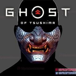 Download 3D model Japanese Oni Samurai Ghost Mask - Ghost of Tsushima Cosplay Costume Halloween Helmet, 3DPrintModelStoreSS