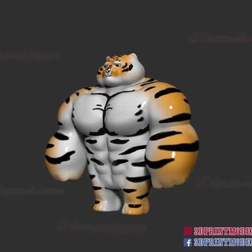 Tiger-muscle-meme-02.jpg Download STL file Tiger Muscle Meme - Swole Tiger Cute Gift • 3D print design, 3DPrintModelStoreSS