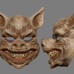 STL files Scary Pig Head Mask Halloween Costume Cosplay Butcher Horror Adult STL File, 3DPrintModelStoreSS
