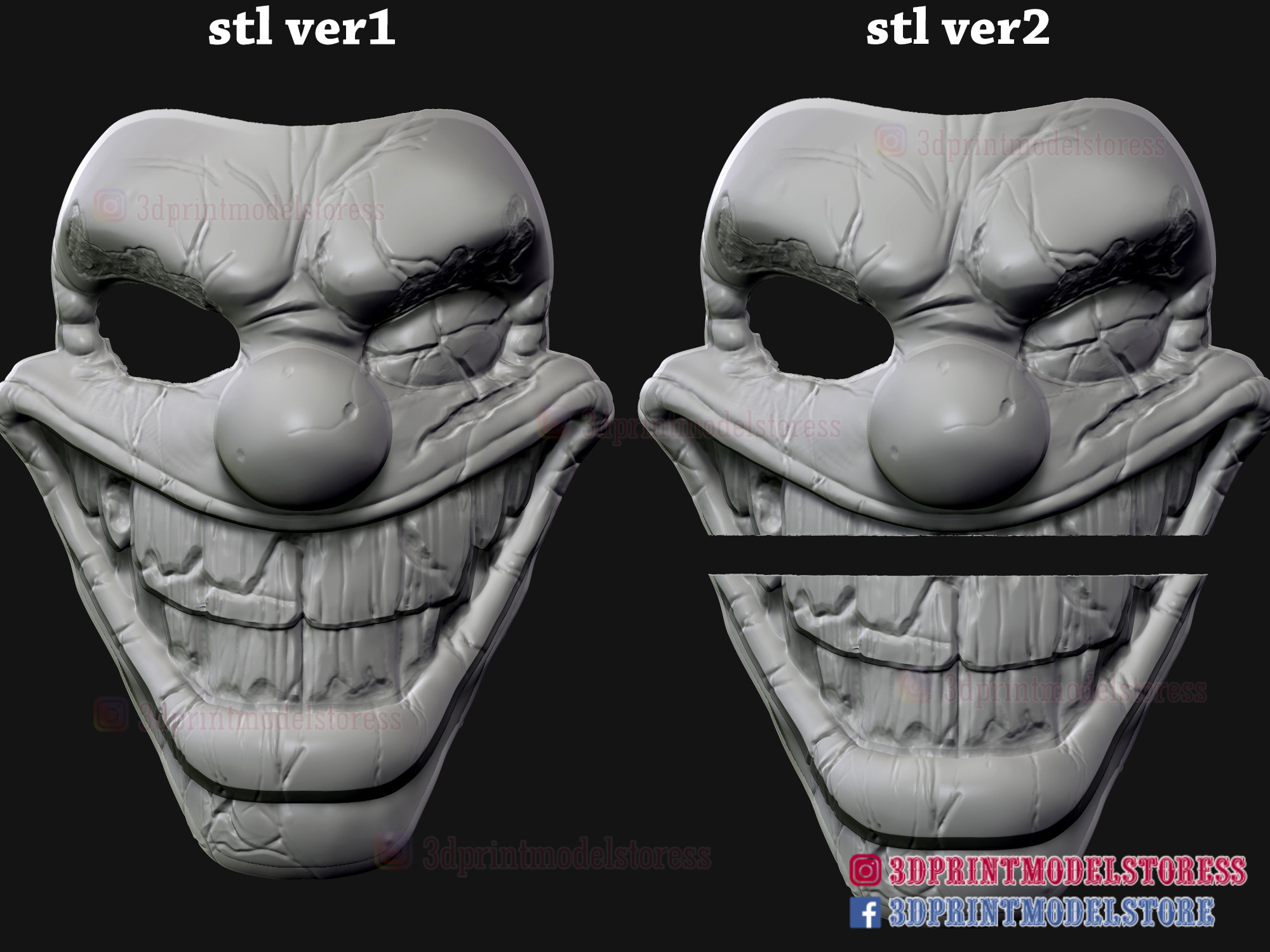 Twisted_metal_killer_clown-14.jpg Download STL file Twisted Metal Killer Clown Mask  • 3D printer model, 3DPrintModelStoreSS