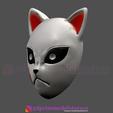Descargar archivos 3D Kimetsu no Yaiba Sabito Mask - Kitsune Fox Mask para Cosplay, 3DPrintModelStoreSS