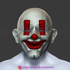 Download 3D print files Henchmen Dark Knight Clown Joker Mask Costume Helmet , 3DPrintModelStoreSS